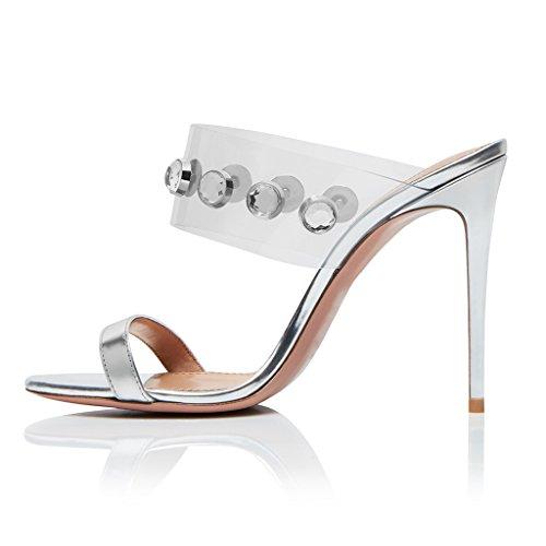 Schuhe LYY Sandalen 13Cm PVC 11 Zehen Frauen Absatzhöhe Hausschuhe Offenen Heel High Stiletto Strass YY TZ8Tq6ra