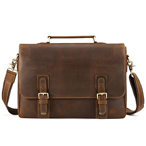 Kattee Men's Vintage Genuine Leather Briefcase Messenger Bag, Fit 14