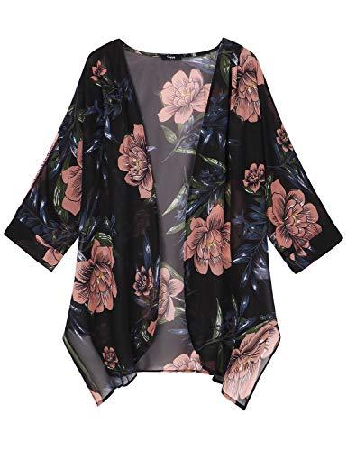 Ckuvysq Women Chiffon 3/4 Sleeve Kimono Blouse Floral Print Cardigan Lightweight Thin Cardigan