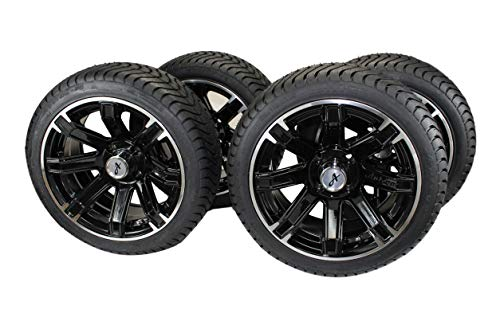 (Set of 4) 205/40-14 DOT Tire w/Black Aluminum Wheel Assemblies for Golf Carts/Buggies