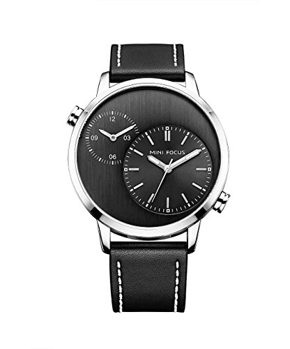 Nice Business Men'S Watch Dual Time Zone Large Face Watch Silver Case Black Leather Band with Japan Movement Quartz Analog Display Watch