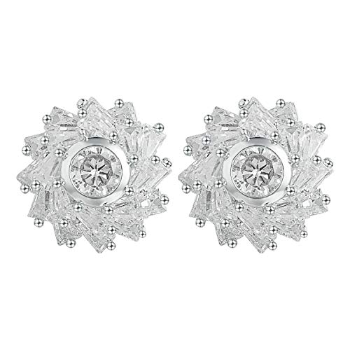Yoursfs Clip On Earrings for White Clear Crystal Flower Non Pierced Earrings...