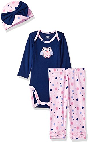Gerber Baby 3 Piece Bodysuit, Cap and Legging Set, owl, Newborn