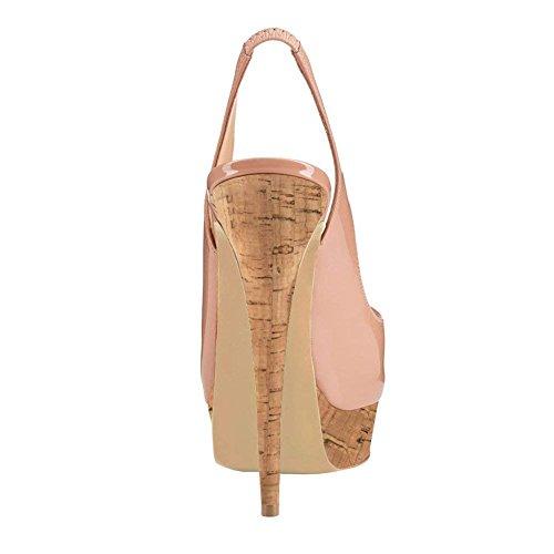 Caitlin Festa Nude Fondo Stiletti col Peep Tacchi On Slip Dress Alti Scarpe Pompe Donna Toe Piattaforma Sandali Tacco wood R0ss0 Pan rTn4HPr