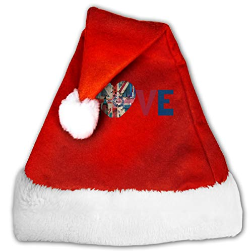 FQWEDY London Love Unisex-Adult's Santa Hat, Velvet Christmas Festival Hat