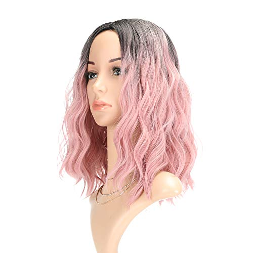 Curly Wave Wig Short bob Wigs Shoulder Length Women's Short Wig ombre color Synthetic Cosplay Wig Pastel Bob Wig for Girl Costume Wigs Ombre Pink Color (Best Hair Color For Shoulder Length Hair)