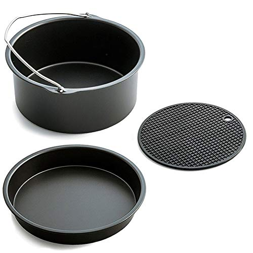 - YUKSY Air Fryer Accessories XL- Fits All 5.3-5.8QT - Non-Stick Barrel/Pan + Silicone Mat, XL-VERSION