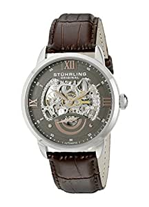 Stuhrling Original Men's 574.03 Analog Executive II Stainless Steel Automatic Skeleton Watch with Brown Leather Band