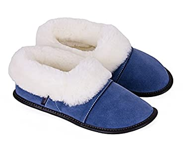 62ae91e2fe929 Amazon.com | Garneau Slippers Women's Lazybones Monet Blue Sheepskin and  Suede Slippers S: 6 to 7 | Slippers