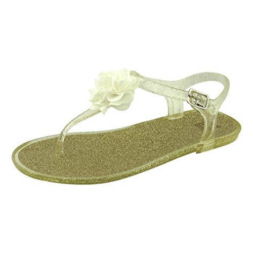 Maker's Jello-12 Women's Glitter Jelly Flower Accent T-Strap Thong Adjustable Ankle Strap Summer Beach Shoes Flats Sandals, Nude/Gold Glitter, 9 B(M) US