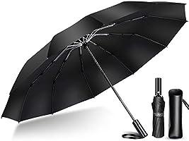 【2020年強化版 12本骨】 折りたたみ傘 自動開閉 軽量 折り畳み傘 メンズ 大きい 晴雨兼用 台風対応 梅雨対策 大きい 超撥水 おりたたみ傘 210T高強度グラスファイバー 収納ポーチ付き (ブルー)