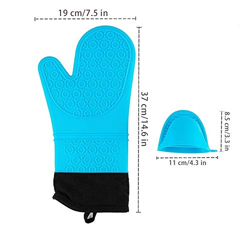 Silicone Oven Mitts and Pot Holders Set,Heat Resistant Cooking Oven Gloves Set 1 Pair (14.6 '')with 2 Potholders,Non-Slip Textured Surface (Blue)