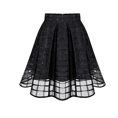 CocoMarket Women Basic Solid Flared Mini Skater Skirt High Waist Zipper Ladies Tulle Skirt Women's High Low Mesh Net Lace Overlay Maxi Skirt (Black, S) ()