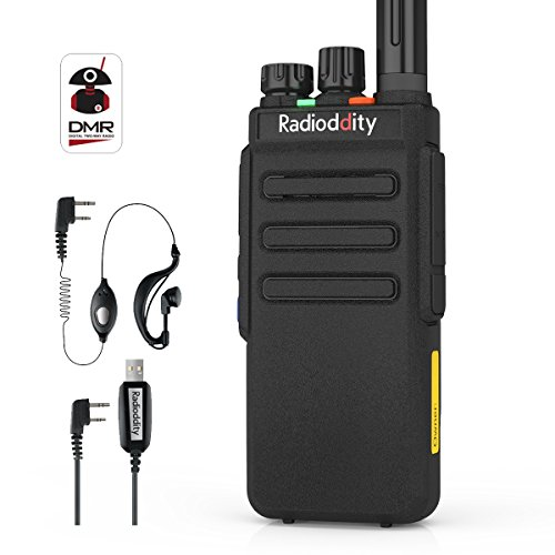 Radioddity GD-77S DMR Dual Band Two Way Radio Digital/Analog VHF/UHF Long Range Handheld Walkie Talkie 1024CH, Voice Prompt, Commercial Use, with Programming Cable, Original Earpiece and 2 Antennas