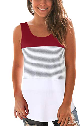 - SMALOVY Women Striped Tank Top for Summer Sleeveless T Shirt Wine M