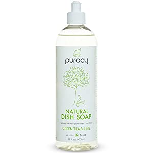 Puracy Natural Liquid Dish Soap, Sulfate-Free Dishwashing Detergent, Green Tea and Lime, 16 Ounce Bottle, (Pack of 1)