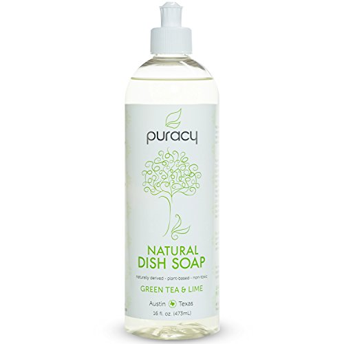 Puracy Natural Liquid Dish Soap, Green Tea and Lime, 16 Fluid Ounce