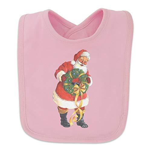 Christmas Holiday Santa Holding Wreath Baby Bib - Pink
