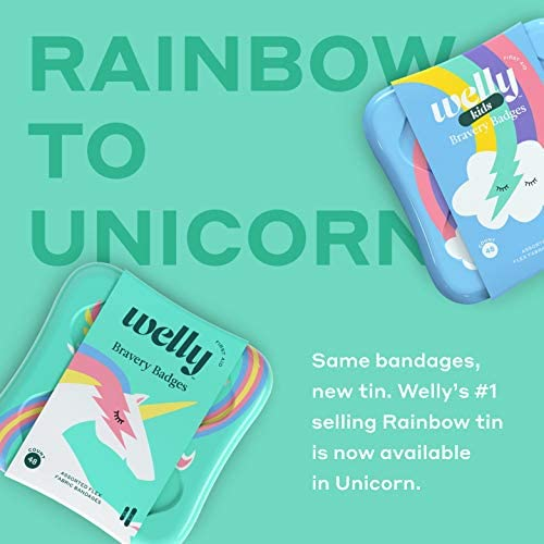 411ghPSjbvL. AC - Welly Bandages - Bravery Badges, Flexible Fabric, Adhesive, Assorted Shapes, Rainbow And Unicorn Patterns - 48 Ct