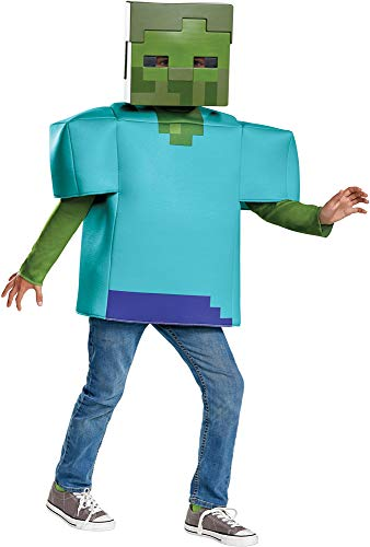 Disguise Boy's Minecraft Zombie Funny Theme Fancy Dress Child Halloween Costume, Child L (10-12) ()
