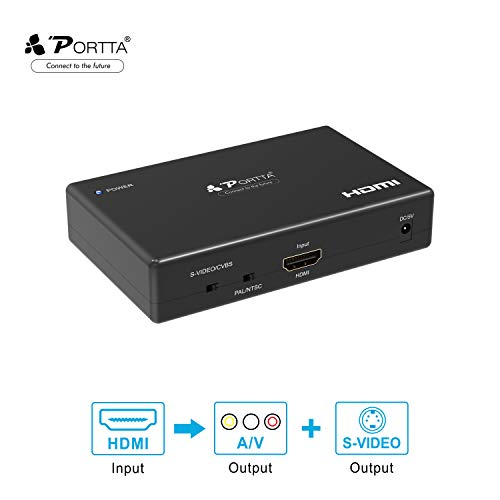 Portta HDMI to Composite RCA CVBS AV and S-Video Converter Scaler with audio support power adapter support 720p/1080p