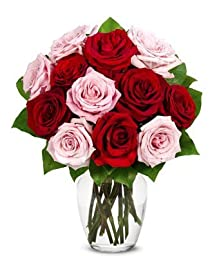 From You Flowers - One Dozen Roses in Red + Pink (Free Vase Included)