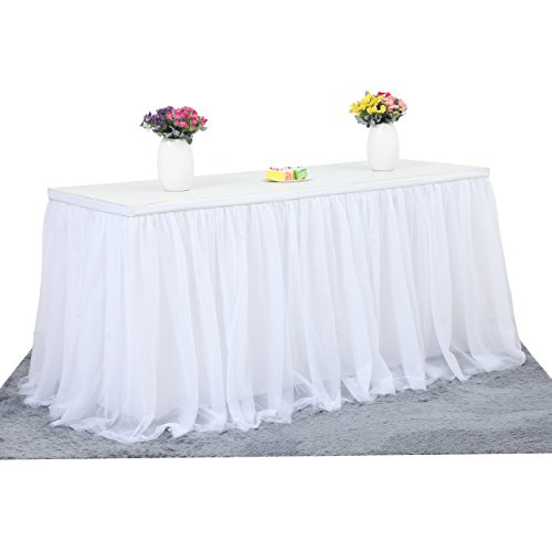 Suppromo 2 Yards High-end Gold Brim 3 Layer Mesh Fluffy Tutu Table Skirt Tulle Tableware Table Cloth For Party,Wedding,Birthday Party&Home Decoration,Table Skirting (L6(ft) H 30in, (White Tableware)
