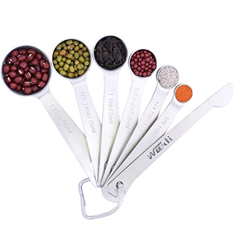 Wuudi Measuring Spoons, Stainless Steel Measuring Cups, All in One Set of 7 for Measuring Dry and Liquid...