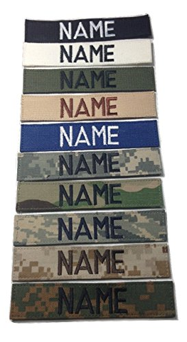 - ACU Multicam OCP Black ABU OD Green Desert CivilAirPatrol, US ARMY USAF USMC POLICE, Custom Name Tape with Fastener (With Fastener, Black)