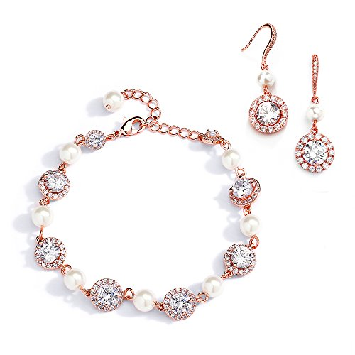 Pearl Lovely Set (Mariell Rose Gold & Pearl Round CZ Bridal Bracelet & Earrings Set - Wedding Jewelry Sets for Bridesmaids)