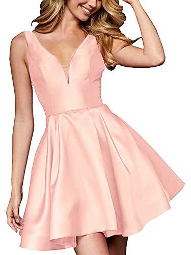 Short Women Ball Party Simple Homecoming Dresses Gown Dress Dresses AiniDress V Prom Blush Satin Neck Formal 8nqaE4n7xw