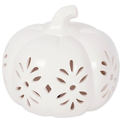 DII Short White Pumpkin with Damask Lantern Halloween Battery