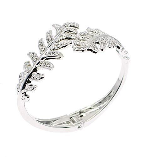 Sparkly Rhinestone Leaf Hinge Bangle Bridal Wedding Statement Bracelet Crystal Adjustable Cuff Bracelets Gold Platinum Tone Women Girls Lover Gifts (Platinum Leaf Bracelet)