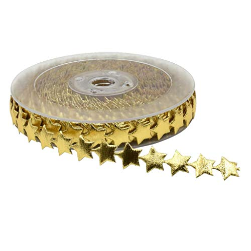 (Mystart 1 Roll 15mm Width Gold Star Ribbon Trim Embellishment for Holiday Wedding Decoration Gift Cake Wrapping)