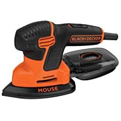The Black & Decker BDEMS600 Mouse Detail Sander features a 3-position grip for control and ease of use in multiple applications; the palm grip is ideal for sanding surfaces, the precision grip provides extreme maneuverability, and the han...