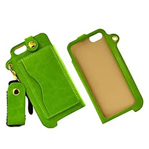 DD Green Sling Durable PU Leather Back Cover Case with Stand for iPhone 5 5S Candy Color White and with Card Pocket
