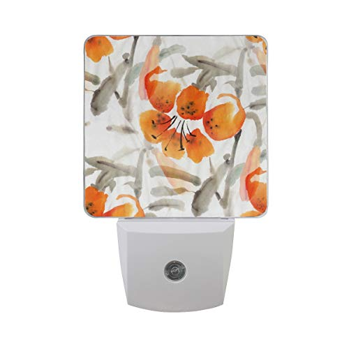 2 Pack Plug-in LED Night Light Lamp Tiger Lilies Watercolor Printing with Dusk to Dawn Sensor for Bedroom, Bathroom, Hallway, Stairways, 0.5W (Tiger Lamp Lily)