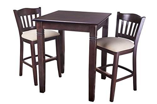Beechwood Mountain PB-028B24-W 3Piece Solid Beech Wood Pub Set for Kitchen & Dining, Walnut