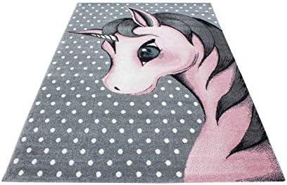 120x170 cm Kinderteppich Kinderzimmer Teppich Einhorn Muster Grau-Wei/ß-Pink