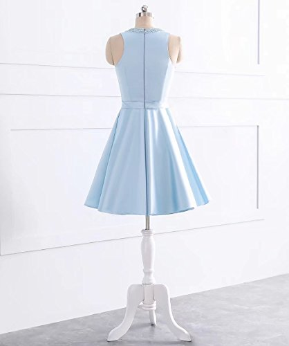 Simple Short Satin White AiniDress Dress Gown Sleeveless Prom Ball Homecoming Dresses 1RS6qwdRr