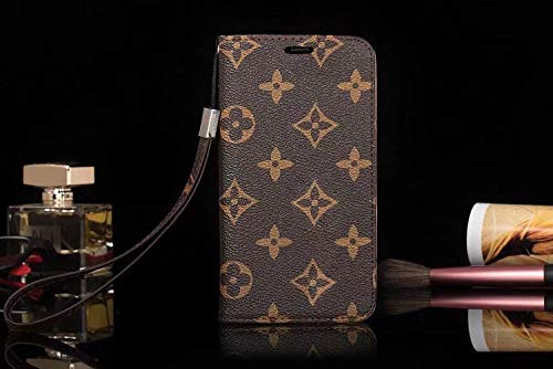 jiehao iPhone 7 / iPhone 8 Case, Vintage Elegant Luxury Monogram Flower Pattern Leather Wallet Case Wrist Strap Flip Cover with Card Slots Phone Case for Apple iPhone 7 & iPhone 8 4.7 Inch, Brown
