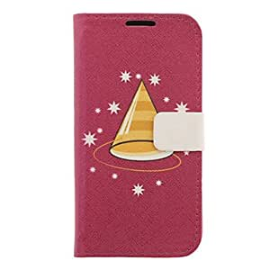 Christmas Hat Drawing Pattern Faux Leather Hard Plastic Cover Pouches for Samsung Galaxy S4 I9500