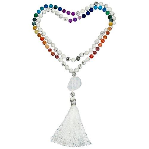 SUNYIK White Howlite Turquoise 7 Chakra Matte Agate Bracelet,Tibetan Buddhist Wrapped Stone Necklace