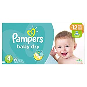 Pampers Baby Dry Diapers Size 4, Super Pack, 92 Count (Packaging May Vary)