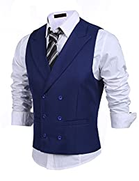 Coofandy Men's Casual Vest Suit Slim Fit Business Skinny Dress Waistcoat
