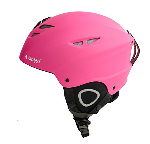 Ski Helmet with Velvet Earmuff and Lining, Avanigo ABS & EPS Helmet for Skiing, Skating, Skateboard, Bicycling (Pink, - Sf Ski