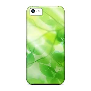 Series Skin Case Cover For Iphone 5c(green Leaves And Sun Ray)