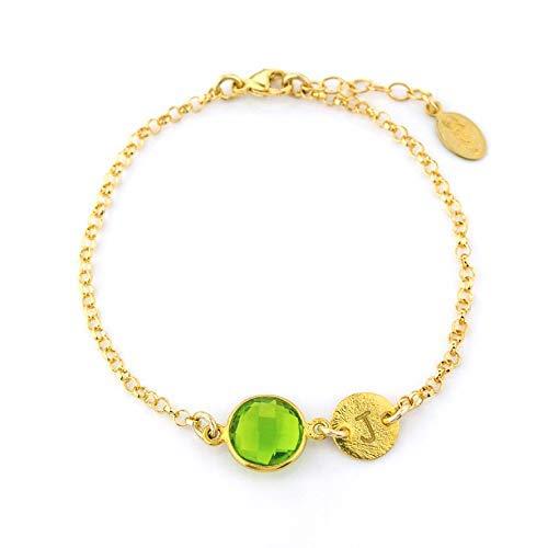 (August Birthstone Bracelet, Personalized bracelet, Peridot bracelet, Peridot jewelry, initial birthstone jewelry, bridesmaid bracelet, baby shower bracelet, new mom present)