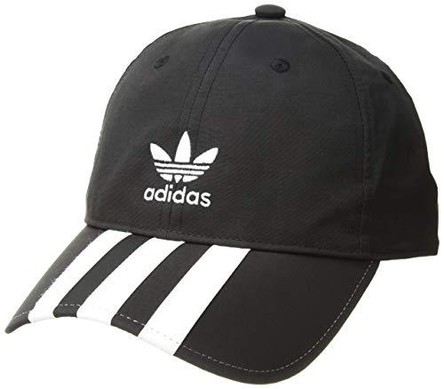 - adidas Men's Originals Relaxed Applique Strapback Cap, black/white, One Size
