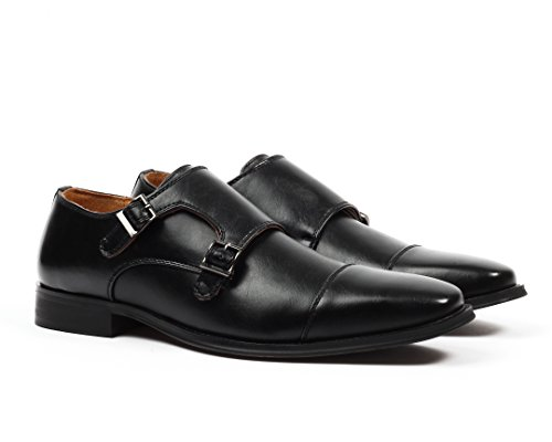 Santino Luciano Luca Men's Cap-Toe Monkstrap Dress Shoes - Logan Leather Shoes